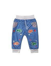 GETHIS Baby Kids Boy Girl Elasticity Drawstring Waistband Jeans Denim Straight Pants