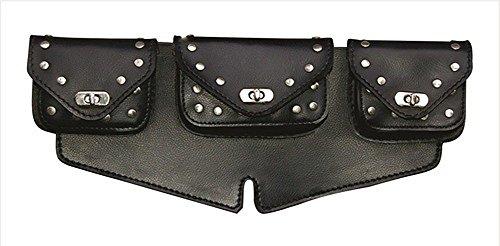 Black Studded Motorcycle Windshield Bag Triple (Pvc Windshield Bag)