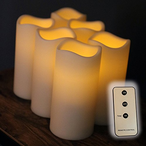 Set of 6 Outdoor 3x6 Waterproof Resin Candles with Timer and Remote and C Batteries Included (Outdoor Flameless Candles)