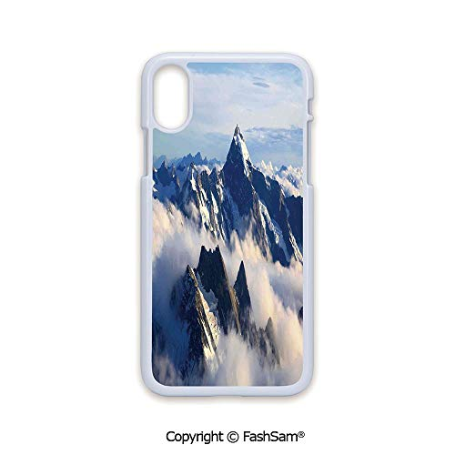 Plastic Rigid Mobile Phone case Compatible with iPhone X Black Edge Landscape of High Majestic Mountains with Cook Peak with Mist Cloud Earth Photo 2D Print Hard Plastic Phone Case ()