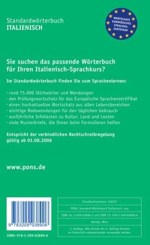 Pons Standardwörterbuch Italienisch Italienisch Deutsch Deutsch