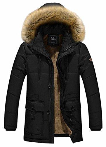Hot Sale-UK Men's Winter Warm Faux Fur Hooded Qulited Cotton Down Jacket Black
