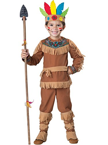 [InCharacter Costumes Men's Indian Boy Costume, Tan, X-Small] (Male Indian Costumes)