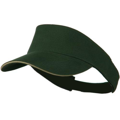 Brushed Cotton Sandwich Visor - Dark Green Khaki OSFM