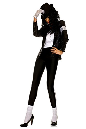 Jean Costumes (MUSIC LEGS The Gloved Billie Jean, Black, Small/Medium)