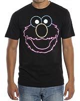 Sesame Street Neon Elmo Men's Black T-Shirt