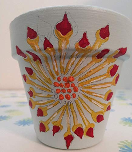 Painted Pot With Chrysanthemum Matchsticks Flower
