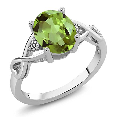 925 Sterling Silver Green Peridot & White Diamond Gemstone Birthstone 3-Stone Women's Ring (1.86 Cttw, Available in size 5, 6, 7, 8, 9)