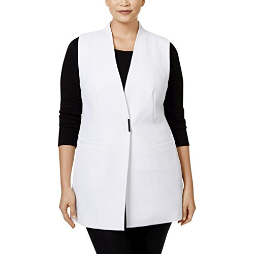 Alfani Womens Plus Crepe Textured Vest White 20W