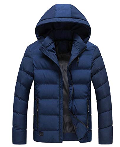 security Men's Fashion Hooded Thicken Wadded Jacket Warm Cotton Padded Down Coat Dark Blue