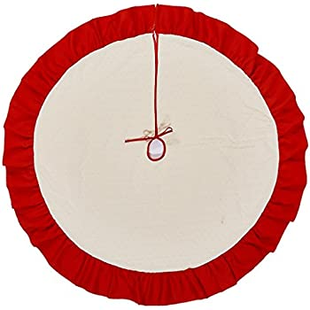 Christmas Tree Skirt - 42 inch - Red and Beige Large Holiday Christmas Decorations Home Decor by Lalent