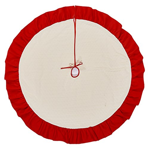 Christmas Tree Skirt - 42 inch - Red and Beige Large Holiday Christmas Decorations Home Decor by Rorgio (Tree Instructions Christmas Skirt For)