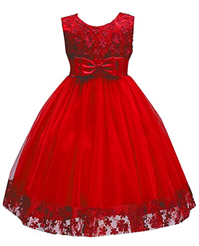 Girl Lace Holiday Dresses for Kids Pageant Sleeveless Flower Holiday Dresses Ball Gown for Party Baptism Wedding Summer Sundress Tank Vintage Knee Formal Special Princess Tutu Size 5 6 (Red, 8)