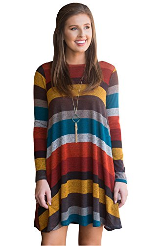 Lxmsja Nightgown Striped Knit Dresses Long Sleeve Nightshirt for Women with Pockets Sleepwear Yellow