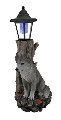 Zeckos Watchful Wolf Sculptural Solar Lantern Statue