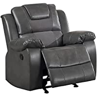Homelegance Taye Glider Recliner Chair Leather Gel Matched Microfiber, Grey