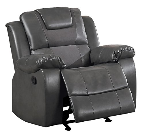 Grey Microfiber Motion Sofa (Homelegance Taye Glider Recliner Chair Leather Gel Matched Microfiber, Grey)