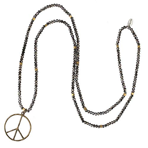 - KELITCH Peace Sign Necklace for Women Hand Knotted Crystal Beaded Pendant Necklace (Bling Grey)