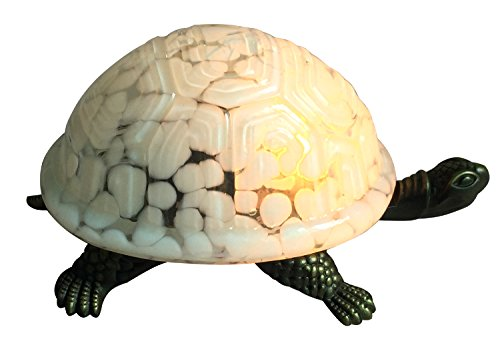 Tiffany Mini Turtle - Premium Tiffany Turtle Children's Night Lights and Glass Table Lamp Shade with Zinc Alloy Base, White Colour, 8