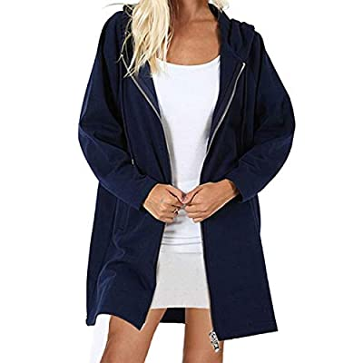 kenoce Women's Long Zip Up Hoodies Solid Color Casual Coat Tunic Sweatshirt Long Outwear Jacket with Pockets: Clothing