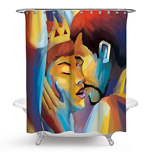 - chengsan Afro Sexy Queen and King Lover Couple Shower Curtain Art Watercolor Woman Portrait Picture Fabric Bathroom Shower Curtain Set (71X71 inch, 27)