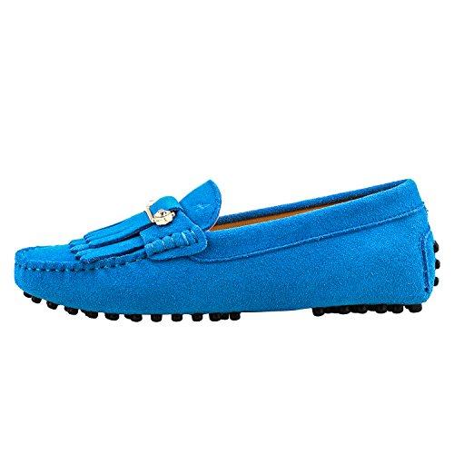 Shenduo Zapatos Primavera - Mocasines de cuero con suela goma cómodos para mujer D7066 Azul celeste