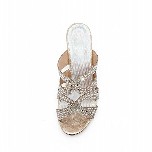 Mee Shoes Women's Sexy Stiletto Mid Heel Rhinestone Decoration Sandals Shoes Gold wGiagnBDV