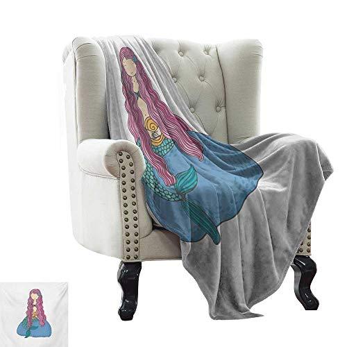 Mermaid,Warm Microfiber All Season Blanket,Sweet Mythological Girl with a Shell and Long Pink Hair Fantastic Sea Character 50