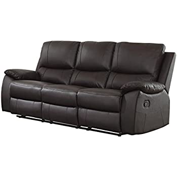 Homelegance Greeley Reclining Sofa Top Grain Leather Match Brown  sc 1 st  Amazon.com & Amazon.com: Homelegance Double Reclining Sofa Brown Bonded ... islam-shia.org