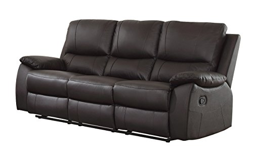 Homelegance Greeley Reclining Sofa Top Grain Leather Match, Brown