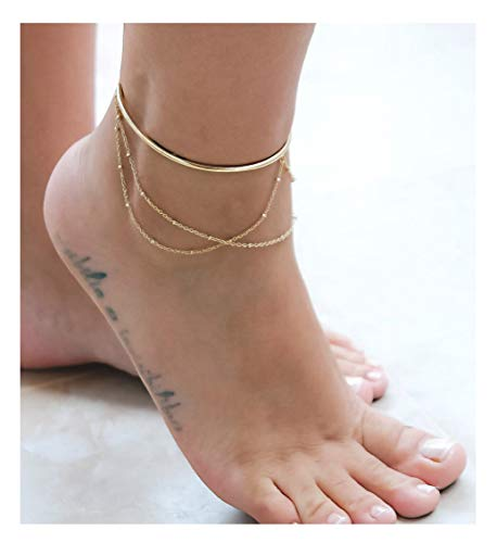 VACRONA Gold 3 Layered Anklet,14K Gold Filled Boho Cuff Wire Cute Tiny Beaded Satellite Charm Beach Handmade Dainty Foot Chain Bangle Ankle Bracelet for Women