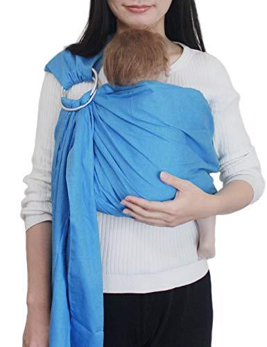 Vlokup Baby Sling Ring Sling Carrier Wrap | Extra Soft Lightweight Cotton Baby Slings for Infant, Toddler, Newborn and Kids | Great Gift, Lightly Padded Adjustable Nursing Cover Lake Blue ()