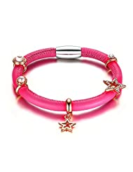 MG Jewelry Bright Red Rose Genuine Leather Women's Charm Bracelets Cuff Magnetic Clasp