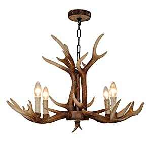 EFFORTINC Resin Antler Chandeliers 4 Light 32.3″ Diameter X 19″ Tall with 4 Feet Matching Chain(Bulbs Not Included)