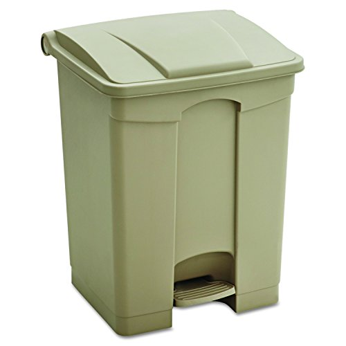 (Safco Products Plastic Step-On Trash Can 9922TN, Tan, Hands-free Disposal, 17-Gallon Capacity)