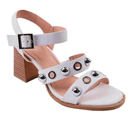 SHU CRAZY Womens Ladies Faux Leather Strappy Studs Mid Block Heel Gladiator Summer Fashion Sandals Shoes - K32 White jxrYbQ0S