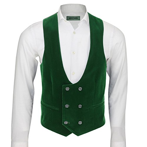 XPOSED Vintage Soft Velvet Mens Double Breasted Waistcoat Low U Cut Style Slim Fit Tuxedo Suit Vest [Chest UK 36 EU 46,Emerald Green ] (Vintage Velvet Vest)