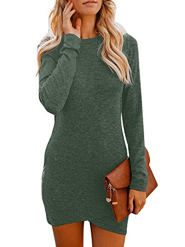 CNJFJ Womens Mini Fitted T-Shirt Dress Long Sleeve Bodycon Wrap Sexy Sweater Dresses
