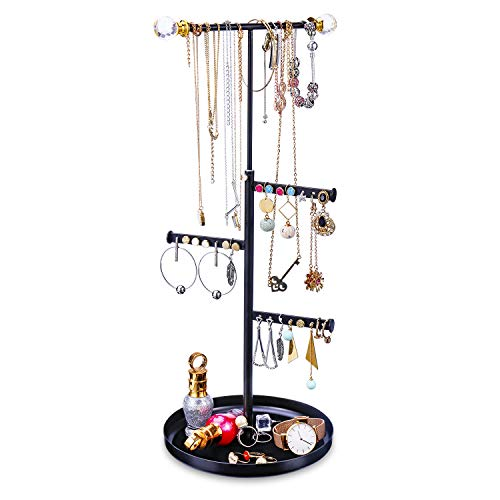 Organizer Jewelry - Keebofly Jewelry Tree Stand Organizer - Metal Necklace Organizer Display with Adjustable Height for Necklaces Bracelet Earrings and Ring Black
