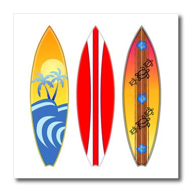 - 3dRose Macdonald Creative Studios - Surfing - Three Vintage Style Surfboards for Any Surfer who Loves The Beach. - 8x8 Iron on Heat Transfer for White Material (ht_291831_1)
