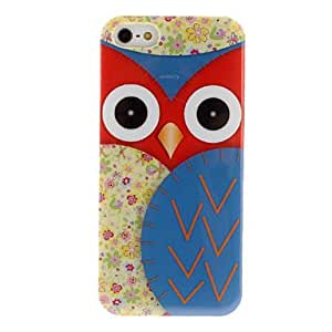 Cute Staring Owl with Flora Wings Pattern PC Hard Case for iPhone 5/5S (Assorted Colors) --- COLOR:Red