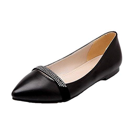 on Cerrada Zapatos Pu De Negro Puntera Mujeres Slip Tacón Bajo Aalardom qxw7IE8Tw