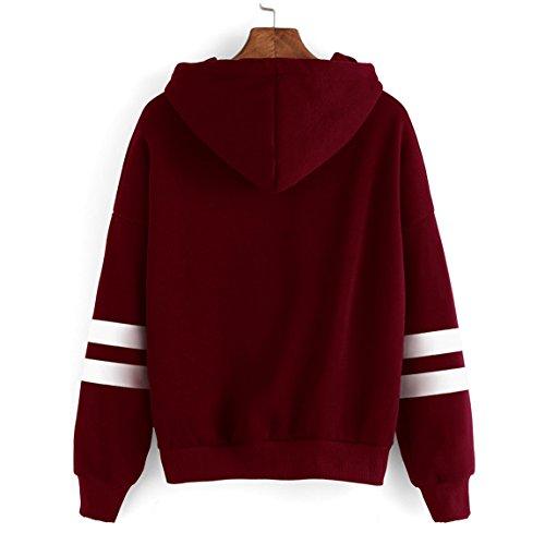 SKY ♥♥costura Fleece Sudadera con capucha de manga larga para mujer Sudadera con capucha de sudadera con capucha Tops Blusa rojo