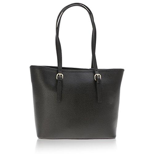 Women Shoulder Bag Made In Genuine Leather Florence 34 * 23 * 12 Cm Black