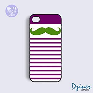 iPhone 5 5s Case - Purple stripes Green Mustache iPhone Cover