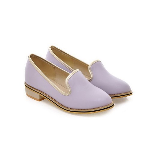 AmoonyFashion Womens Round-Toe Closed-Toe Low-Heels Pumps-Shoes with Sole Slip Resistance and Thread Purple hzJJ5