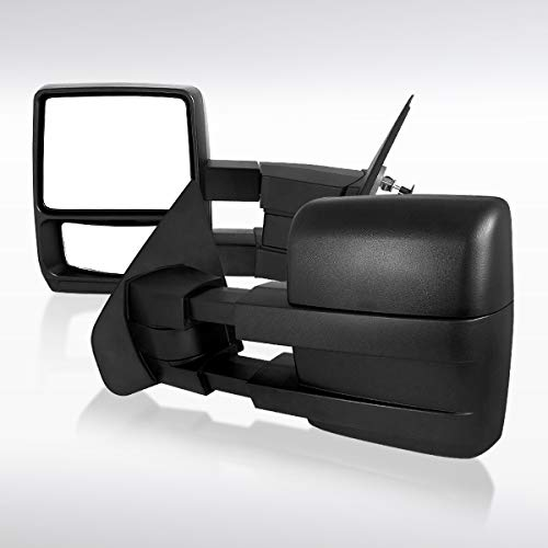 Autozensation For Ford F150 Pickup Truck Black Manual Extend Towing Side Mirrors
