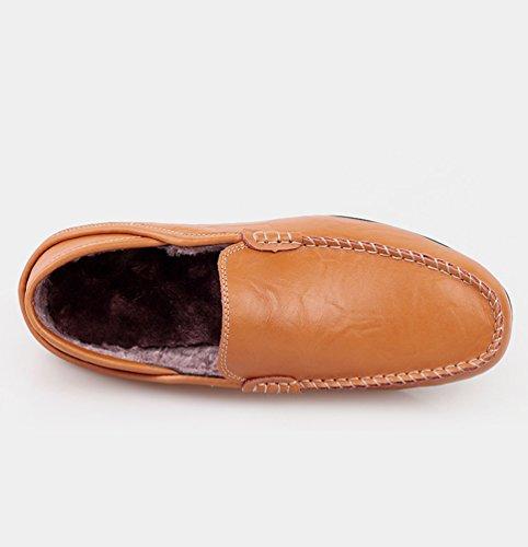 Slip On Hombre Marrón Mocasines Negocio cálido Conducción Loafer Dooxi Cómodos Casual Zapatos Planos Moda Forrado De 8TqTHSU