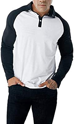 HhGold Camisa de Polo para Hombre Top de Manga Larga de Golf ...