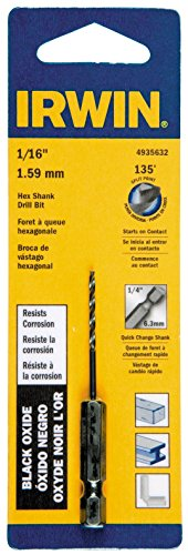 (Irwin Tools 4935632 Black Oxide Hex Shank Drill Bit, 1/16-Inch)